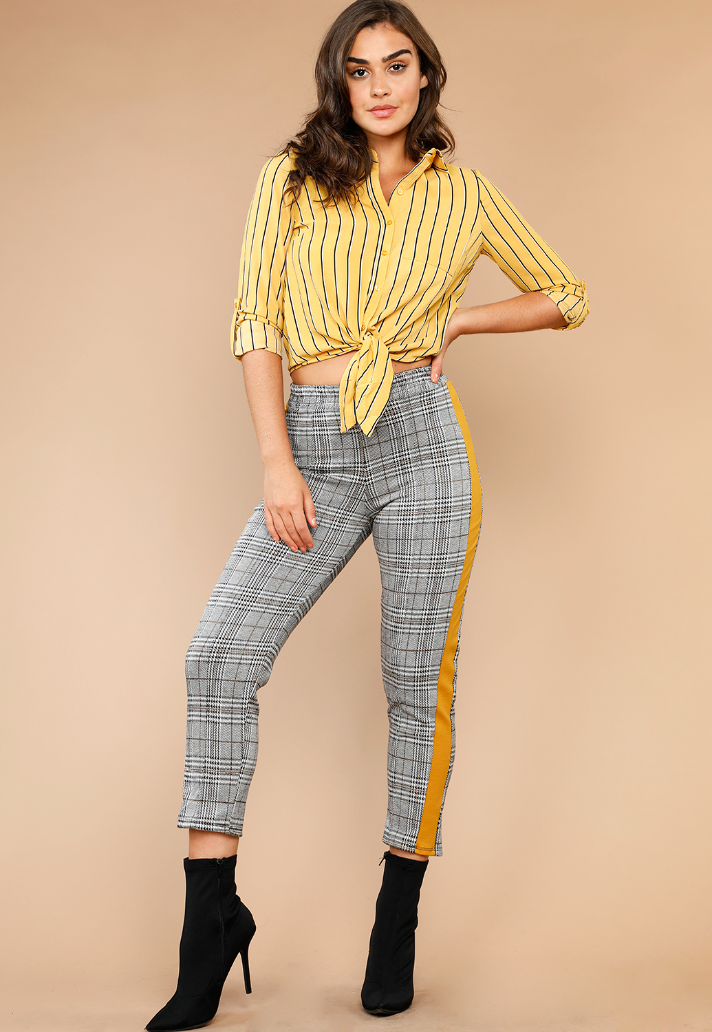 Glen Plaid Casual Pants