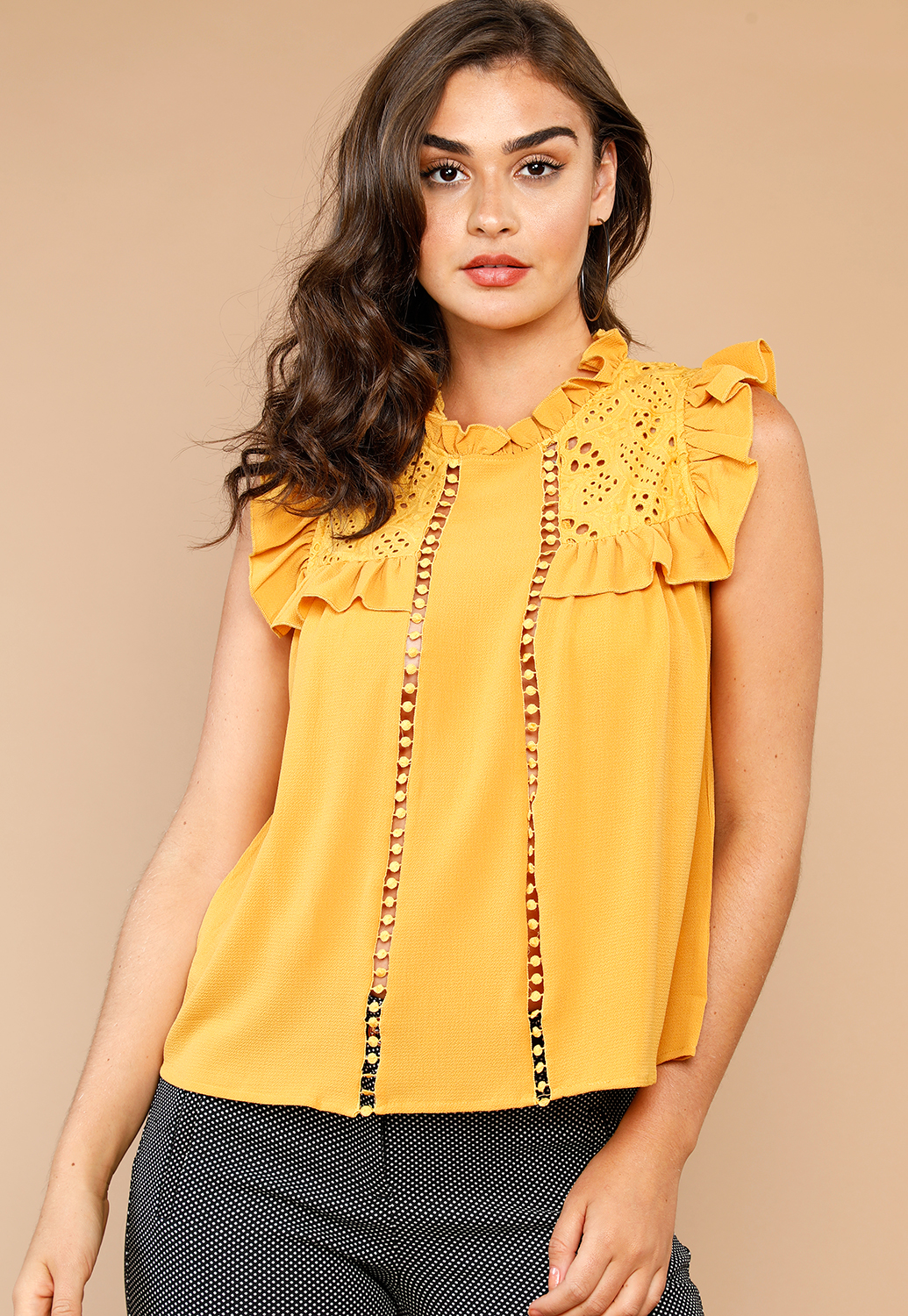 Crochet Trim Ruffle Detail Casual Top