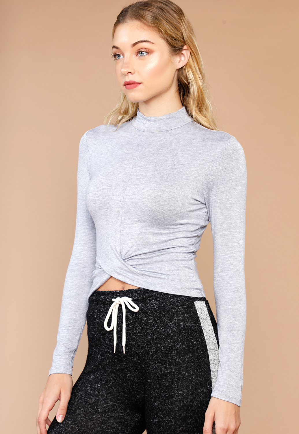 Twist Front Long Sleeve Top