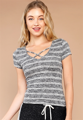 Striped Criss-Cross Casual Top