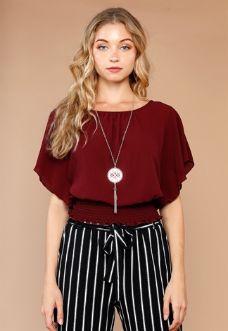 Smocked Detailed Dressy Top With Necklace