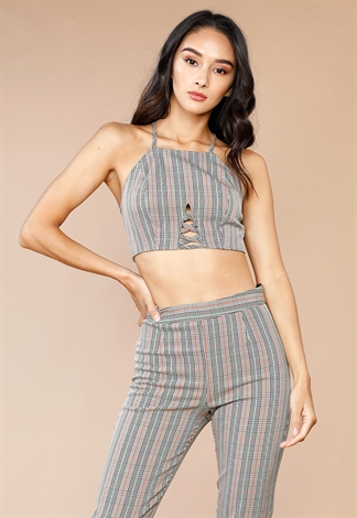 Glen Plaid Front Cutout Top by Papaya
