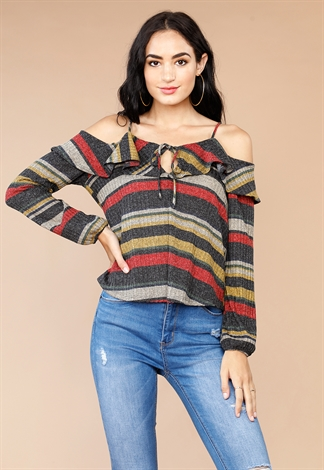 Striped Open Shoulder Casual Top
