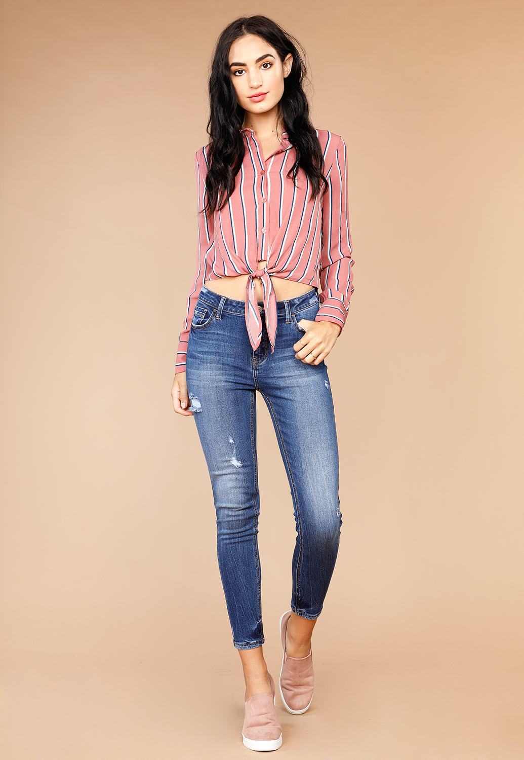 Long Sleeve Button Up Dressy Blouse