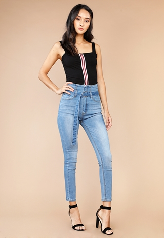 High Waisted With Belt Skinny Jeans