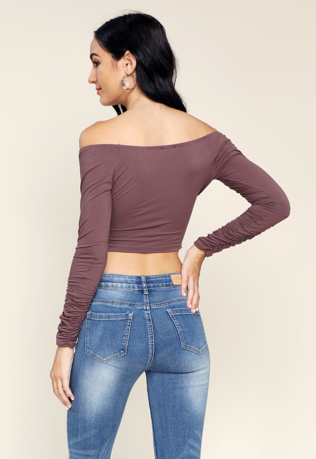 Ruched Side Long Sleeve Top