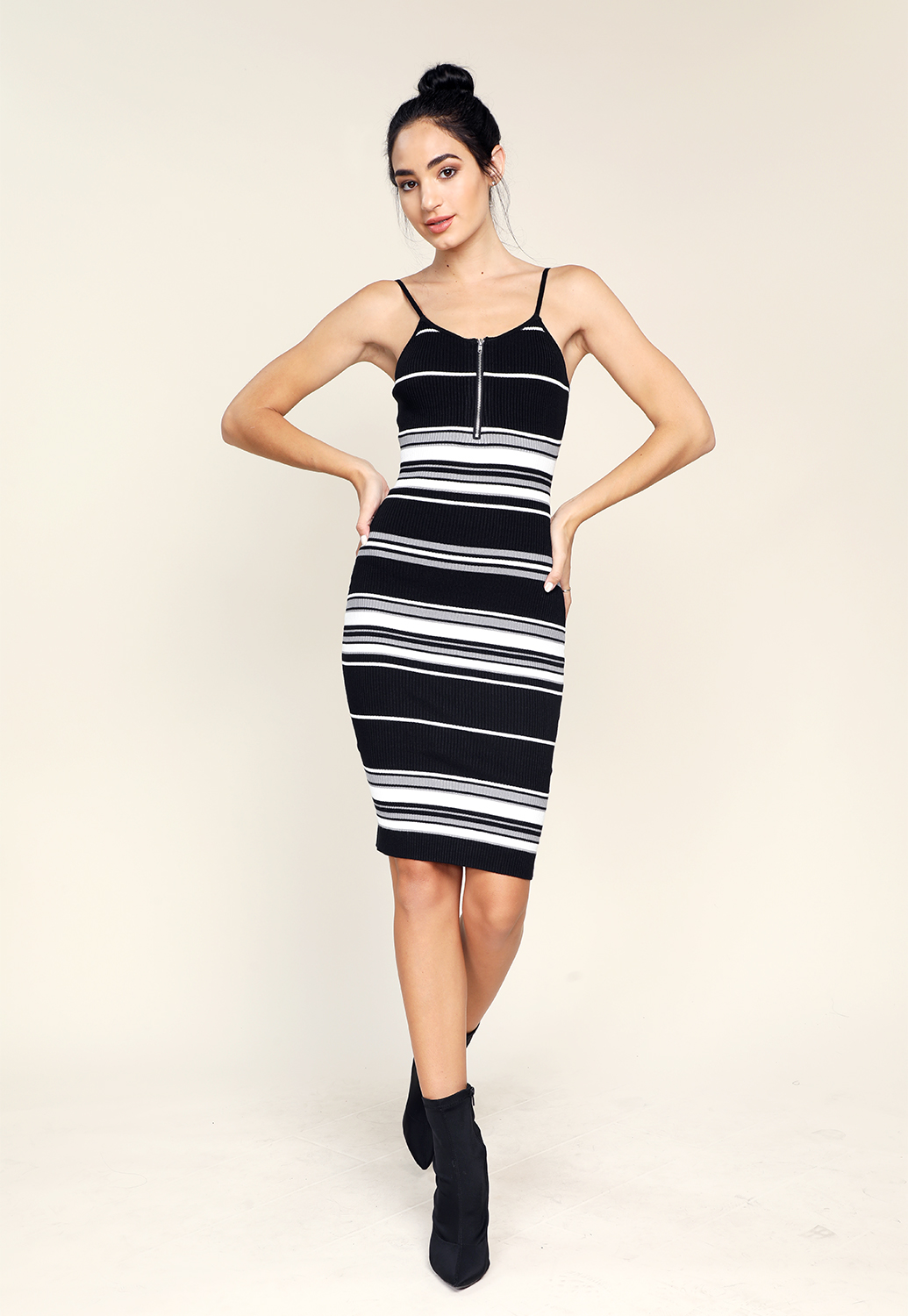 Striped Zipper Up Bodycon Dress