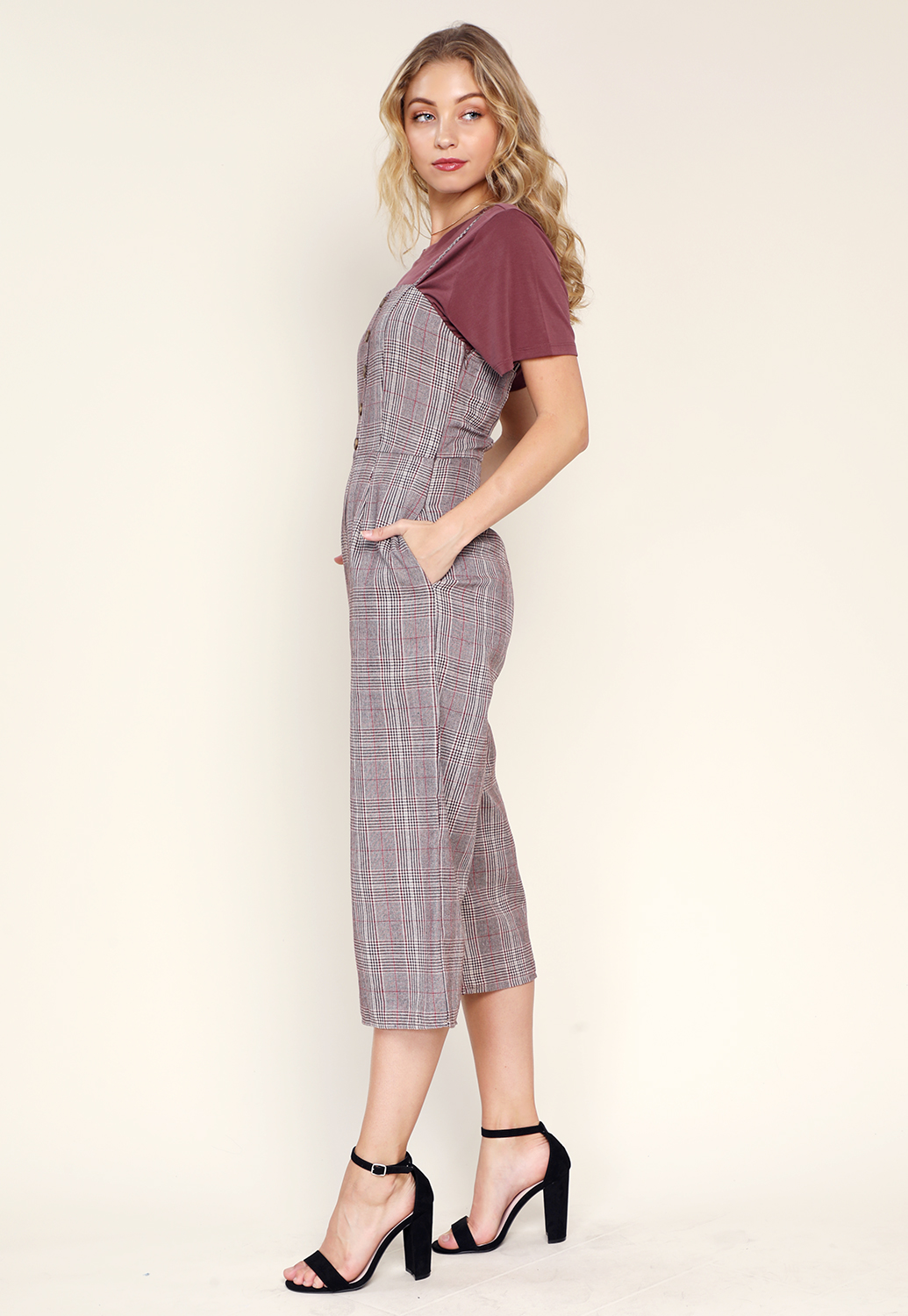 Glen Plaid Wide-Leg Jumpsuit