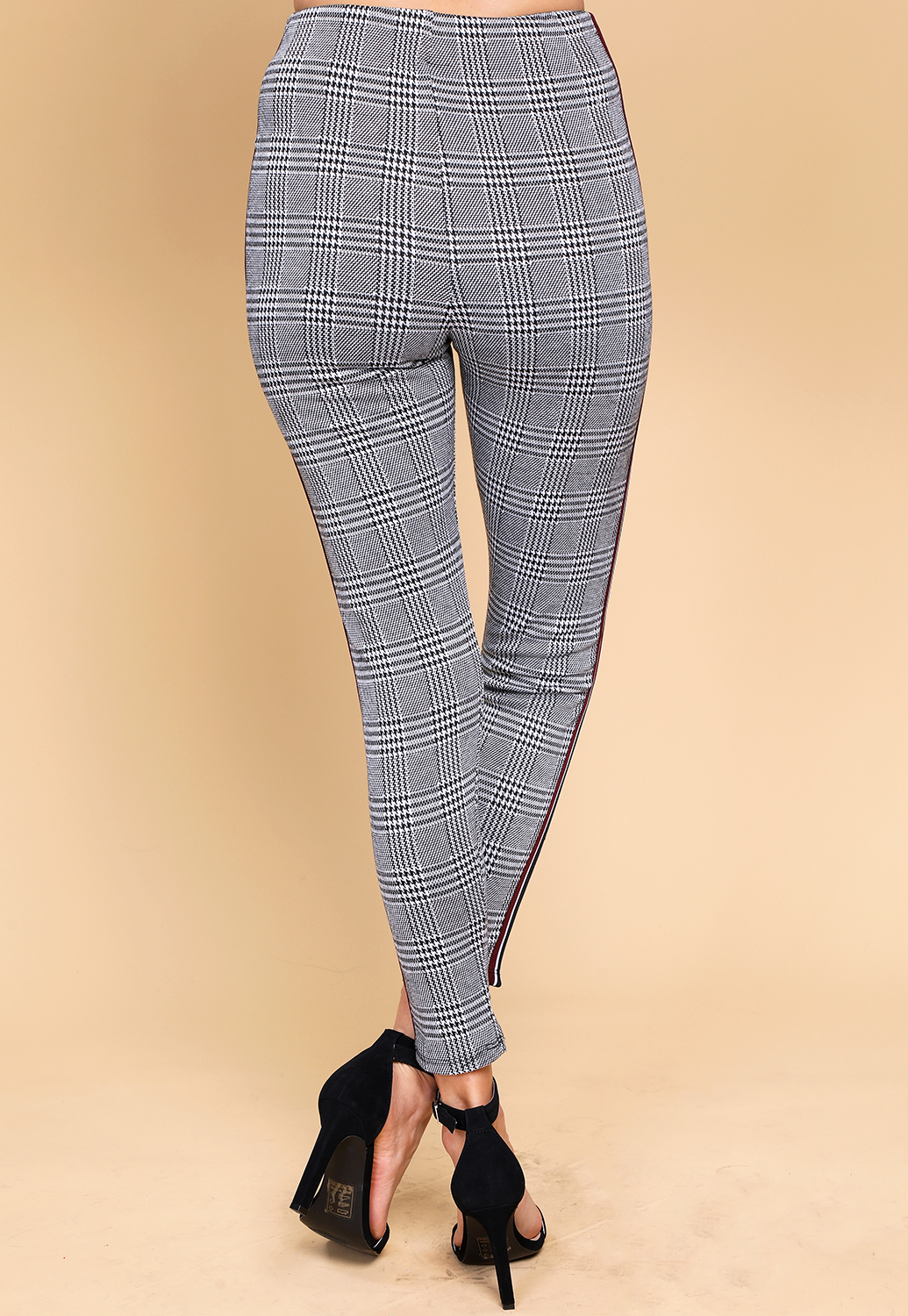 Side Striped Glen Plaid Pants