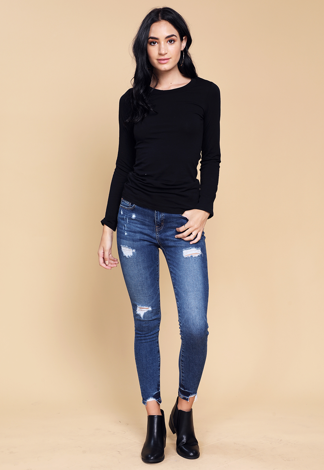 Classic Round Neck Long Sleeve Top