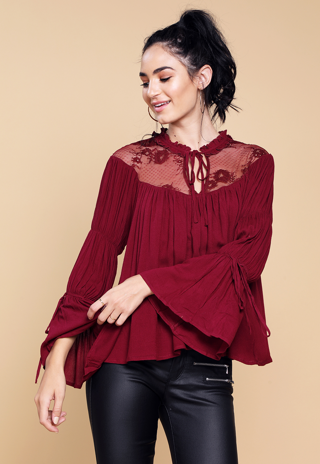 Bell Sleeve Ruffle Trim Blouse