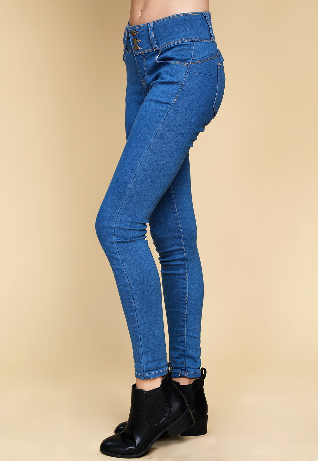 Multiple Button Skinny Jeans
