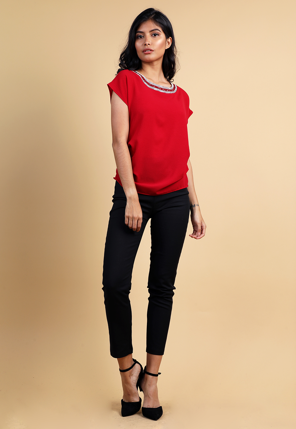 Linestone Side Ruched Detail Top