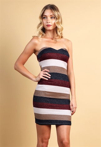 Metallic Striped Tube Bodycon Dress