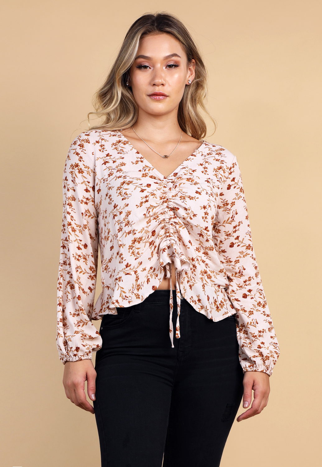 Floral Ruched Detail Top