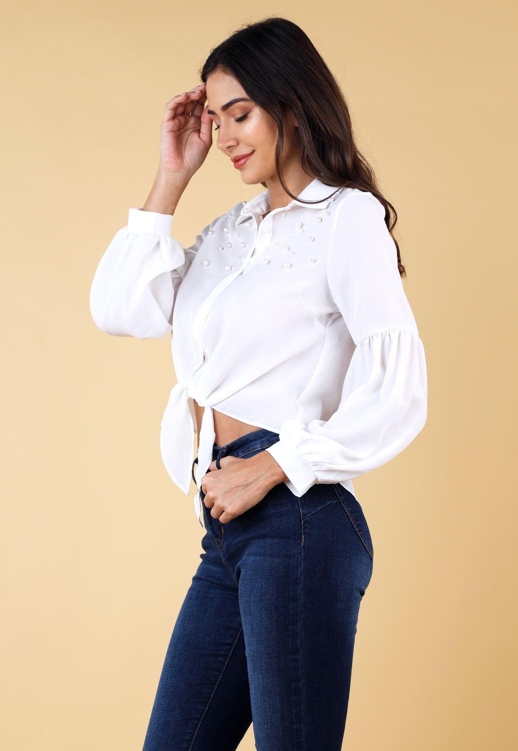 Faux Pearl Embellished Top