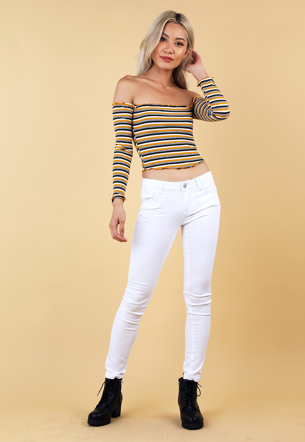 e64b402806a949 Striped Lettuce Edge Crop Top