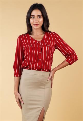 Striped Long Sleeve Dressy Blouse Shop New In At Papaya Clothing