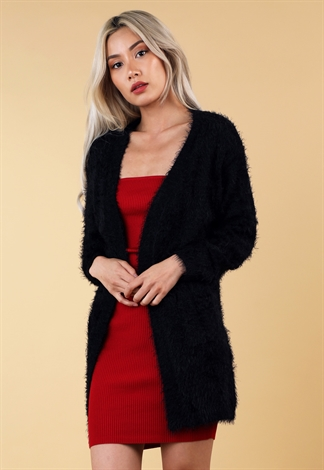 Fuzzy Knit Open Front Cardigan