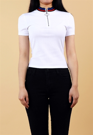 Zipper Detail Casual Top