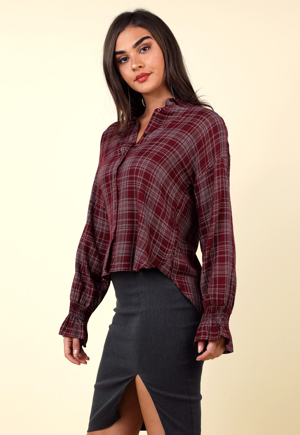 Plaid Button Up Long Sleeve Blouse
