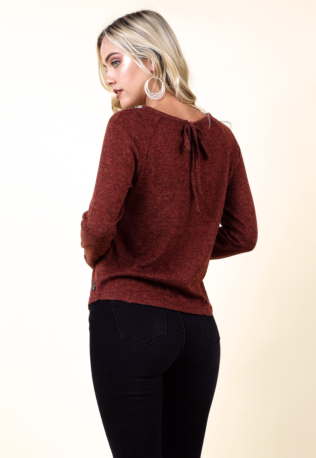 Side Button Detail Marled Top