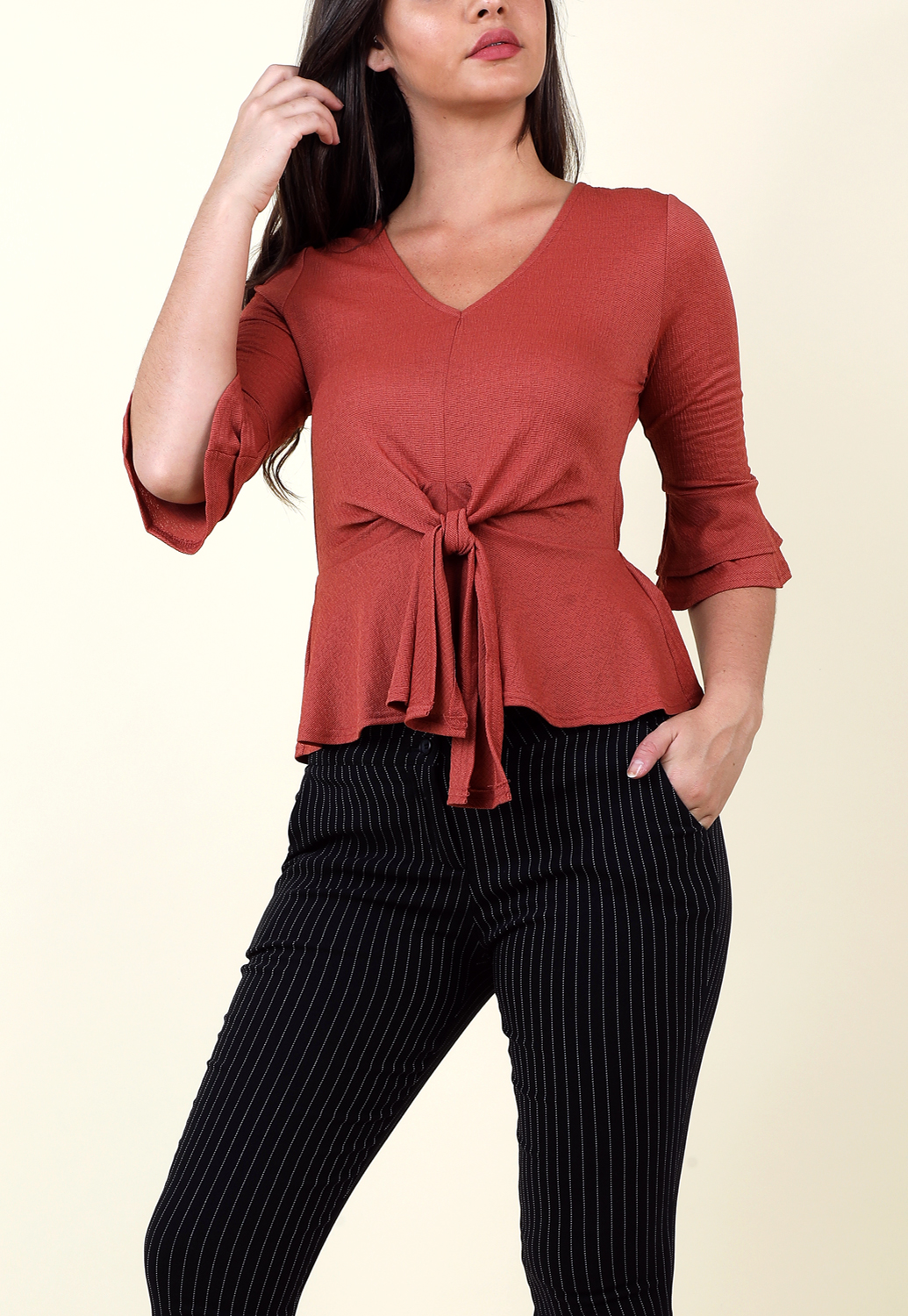82f66ebc421a6 Tie Front Flounce Casual Top