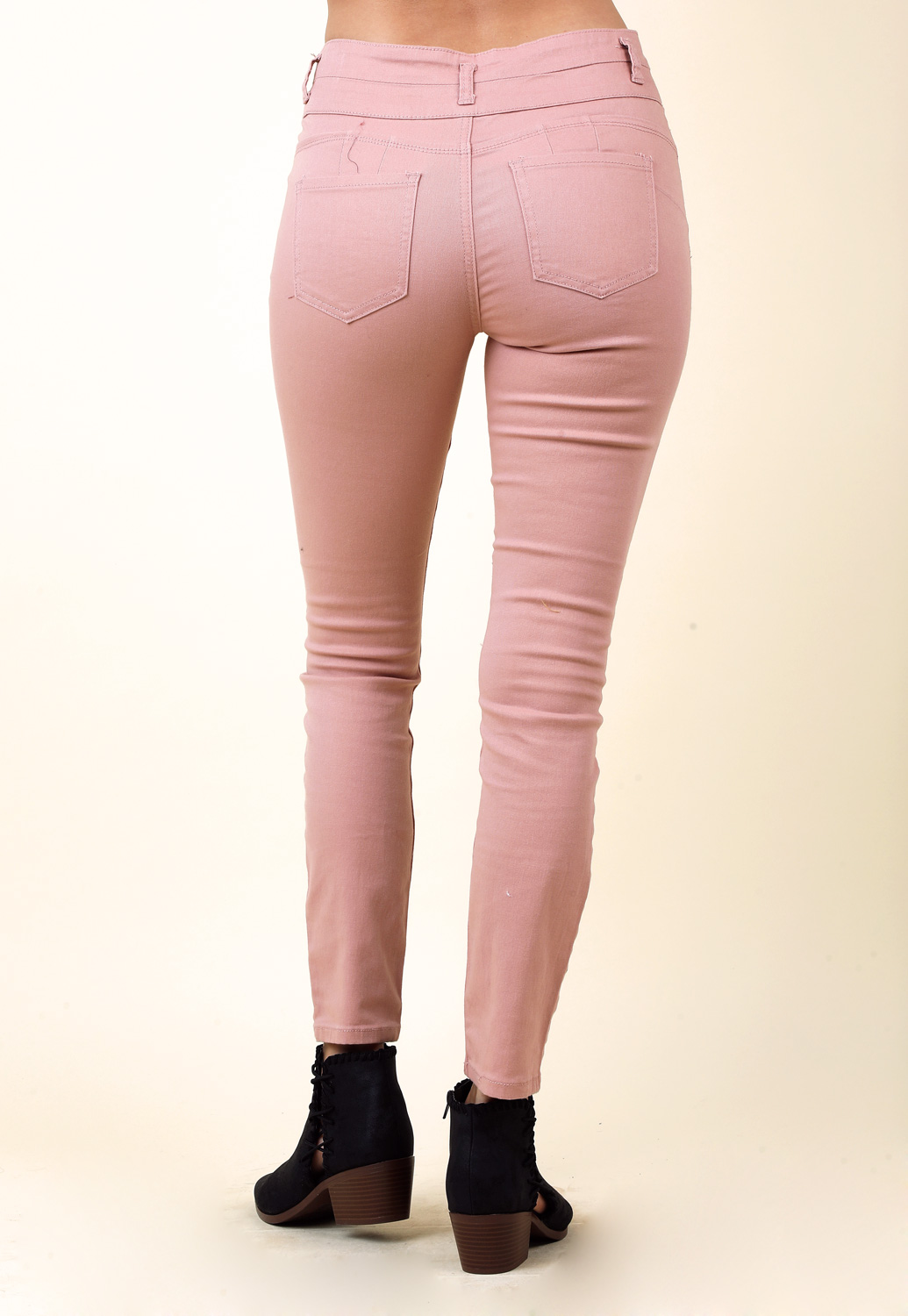 Multi Button Skinny Jeans