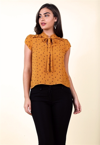 Polka Dot Ruffle Detail Top