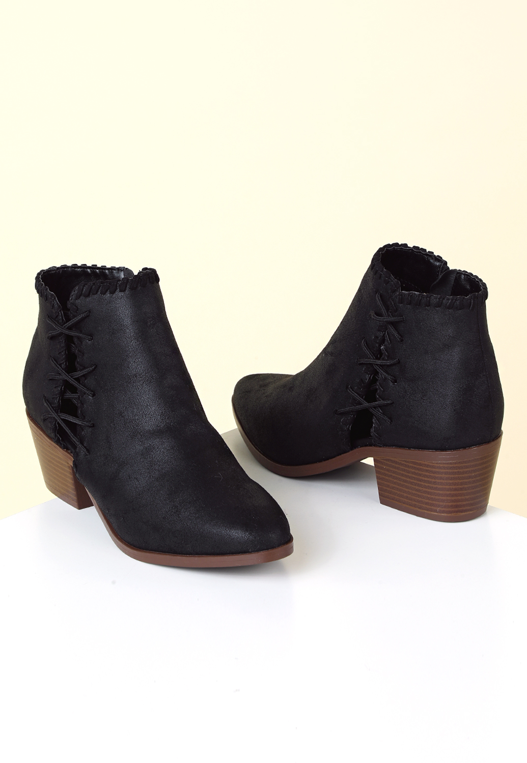 Faux Leather Lace-Up Bootie