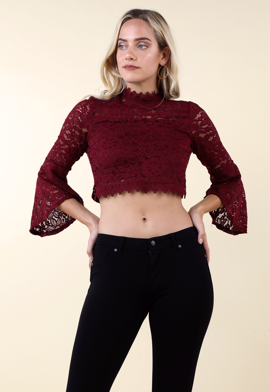 Floral Lace Paneled Casual Top