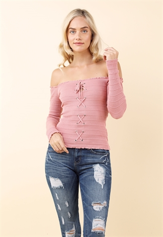 Off The Shoulder Lace Up Top