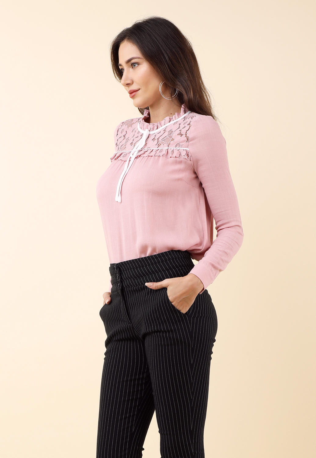 Long Sleeve Floral Lace Detail Top