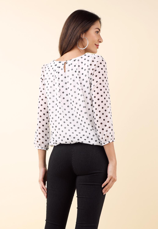 375bed0cb1 Polka Dot Long Sleeve Dressy Top
