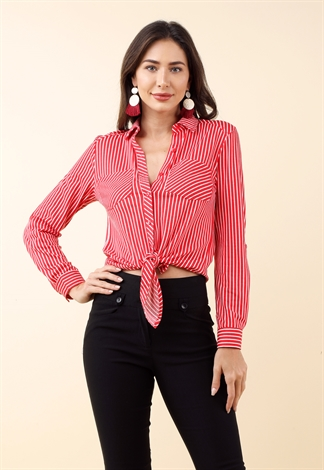 Striped Pocket Detail Front Tie Top