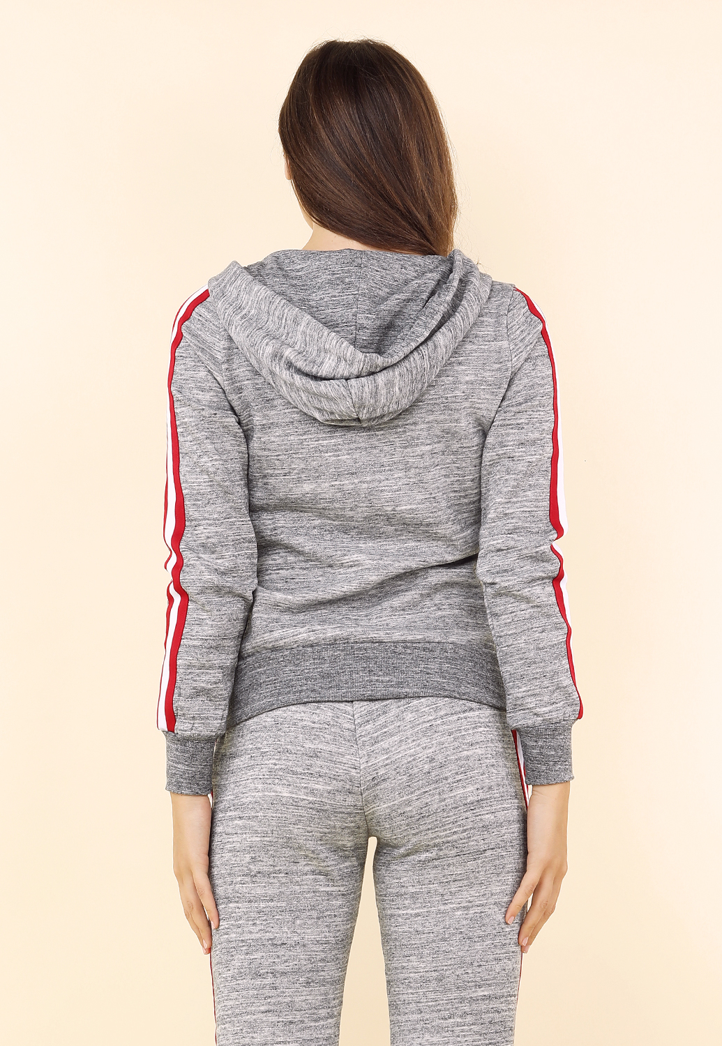 Striped Sleeve Zipper Up Hoodie