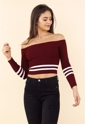 Striped Detail Off The Shoulder Top