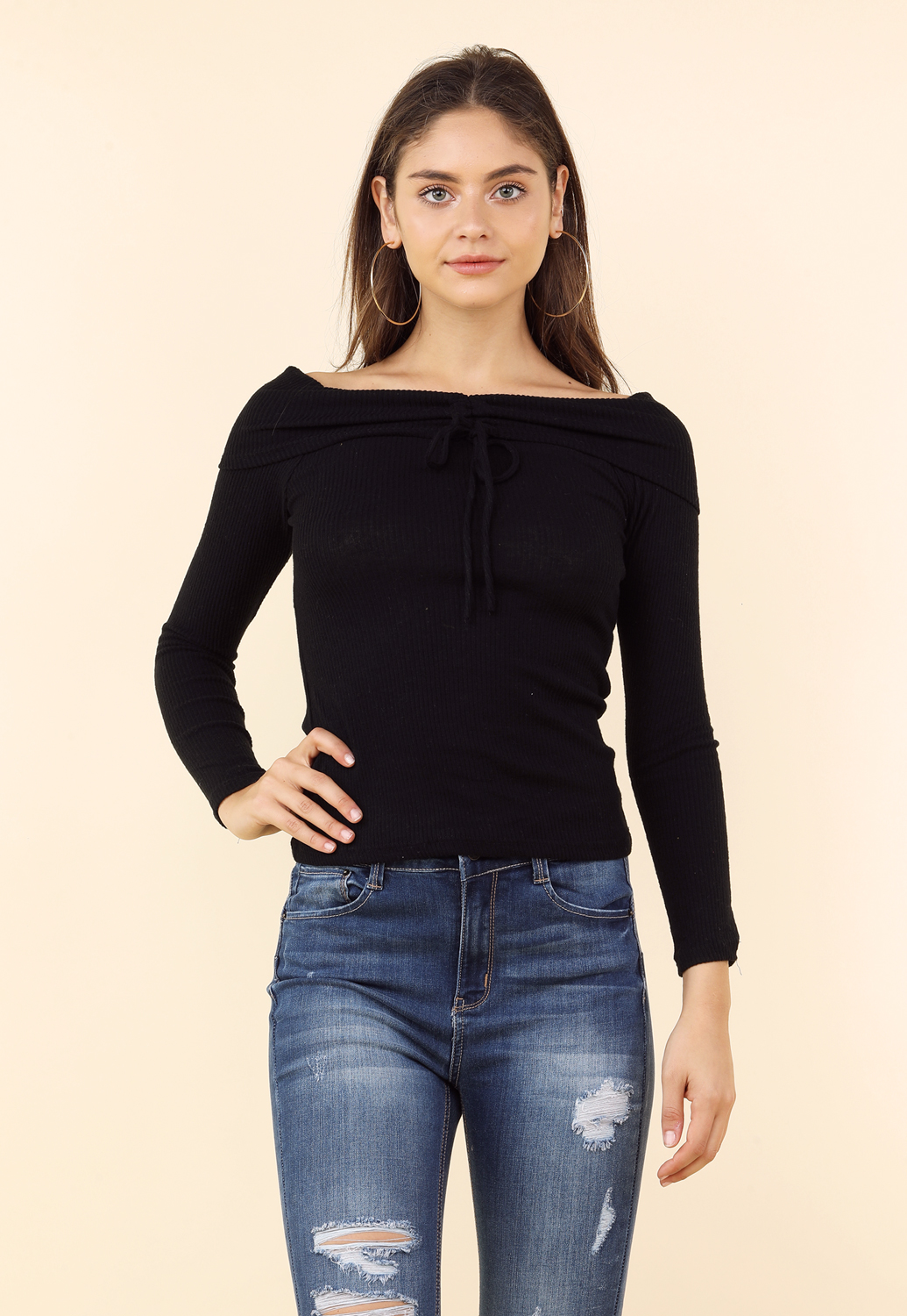 Off The Shoulder Ruched Detail Top