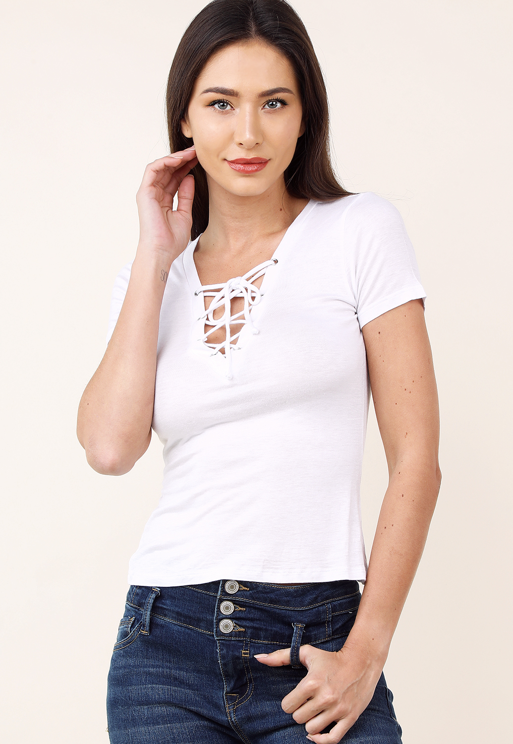 Lace Up Casual Top
