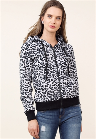 Cheetah Print Zip Up Hooded Jacket