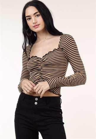 Striped Front Ruched Top