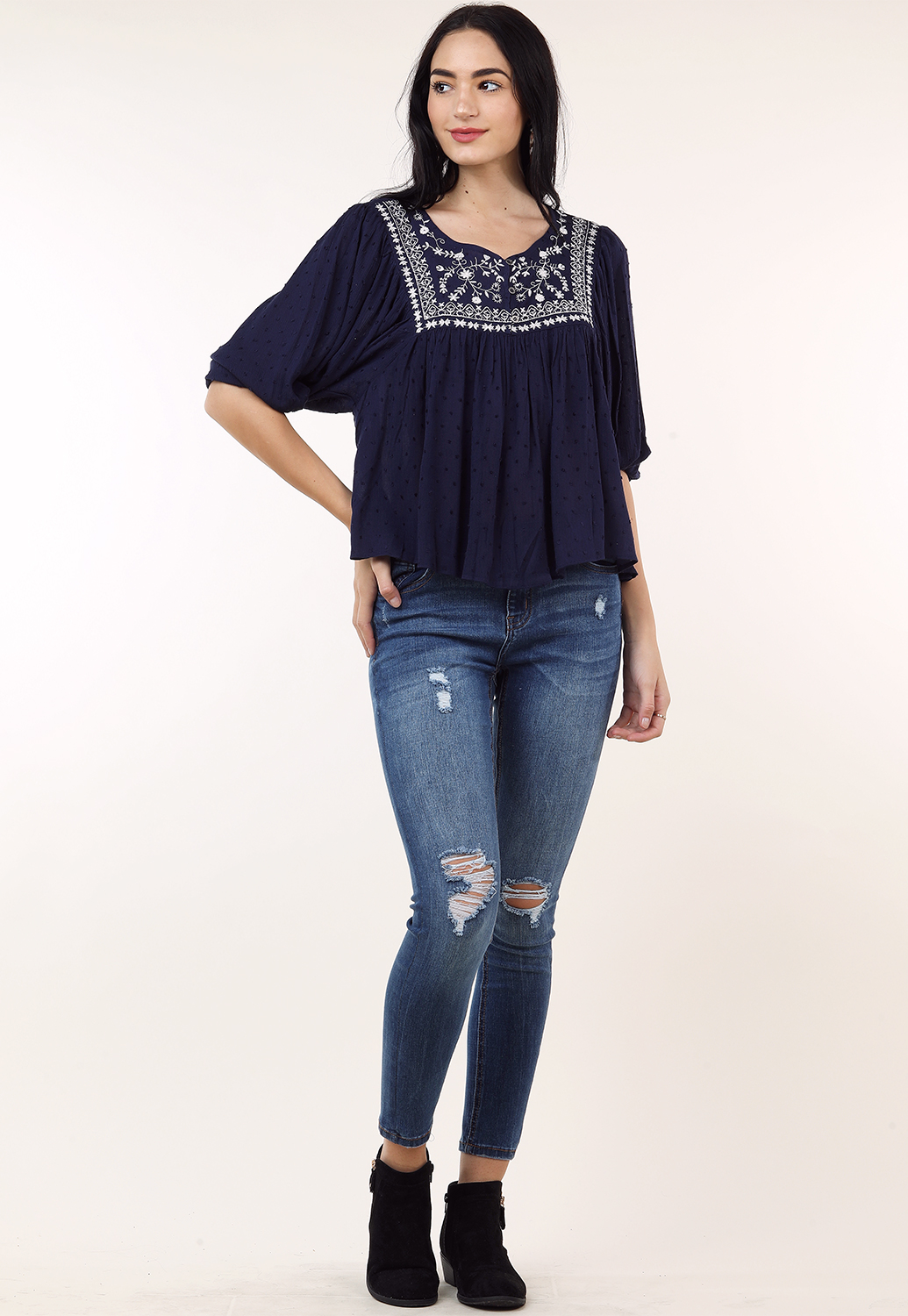 Floral Embroidered Flare Top