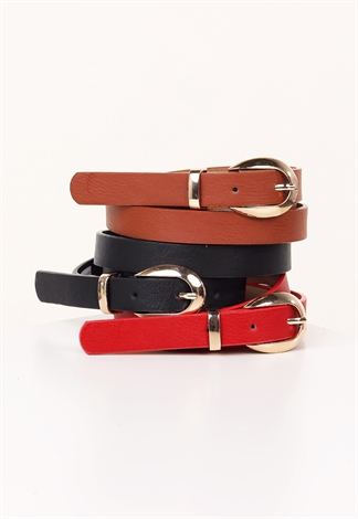 Faux Leather Trio Belt Set