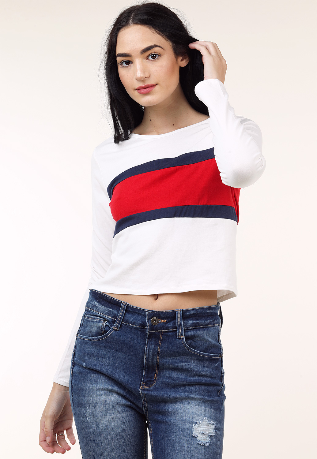 Striped Detailed Long Sleeve Top
