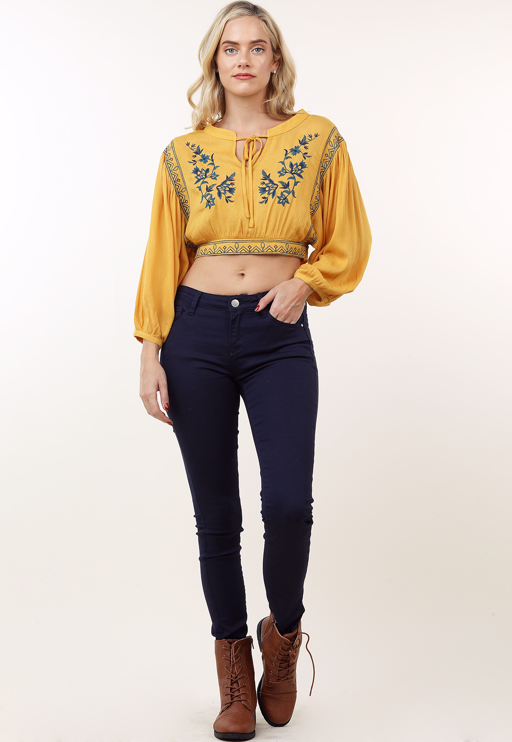 Floral Embroidered Detail Top