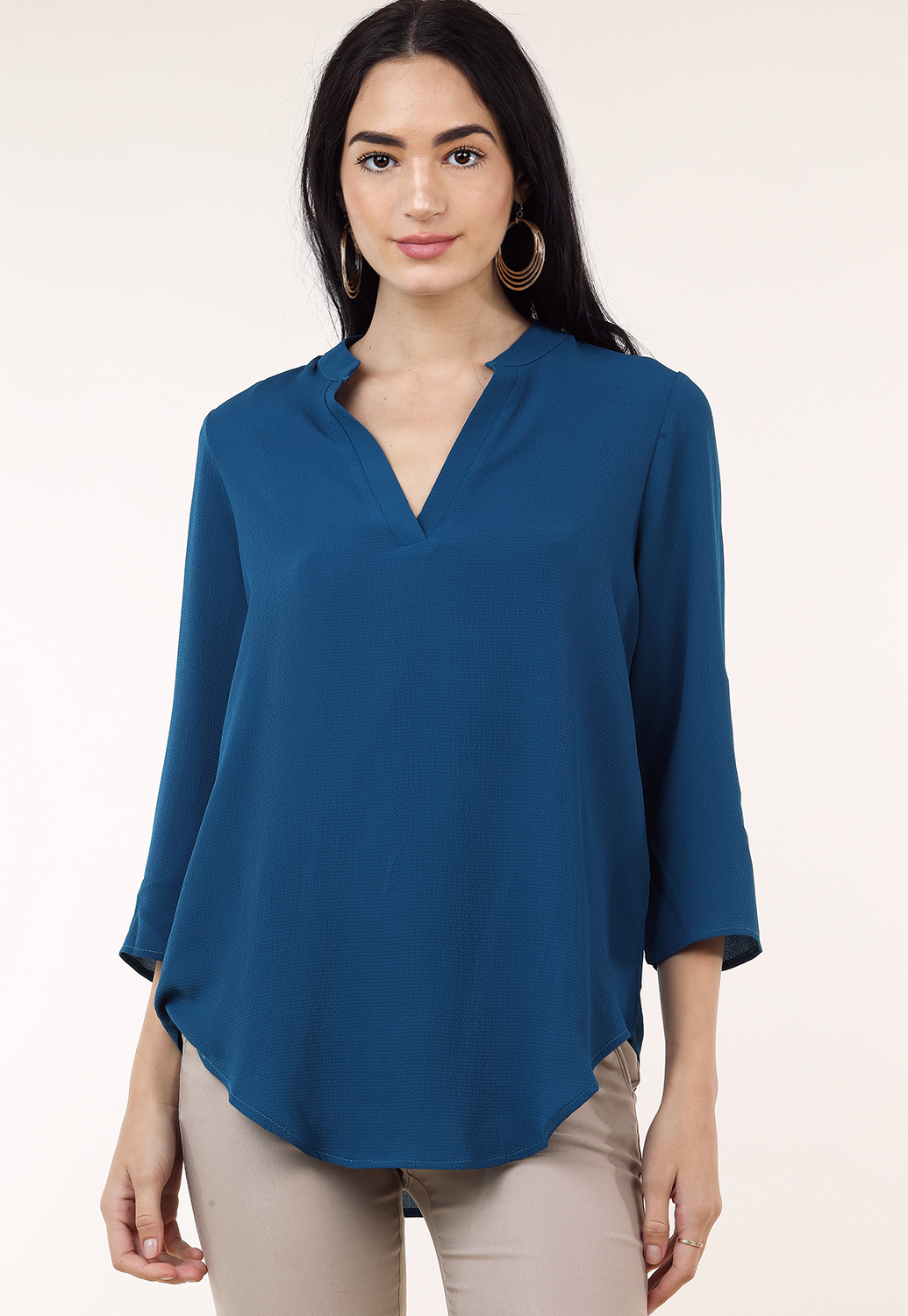 V-Neck 3/4 Sleeve Top