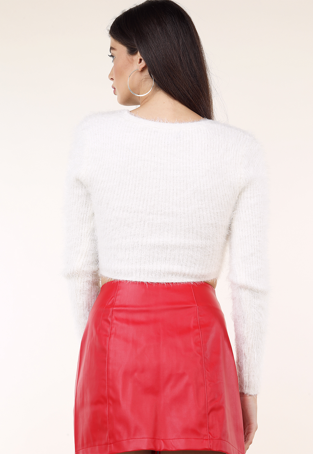 Fuzzy Long Sleeve Knit Top