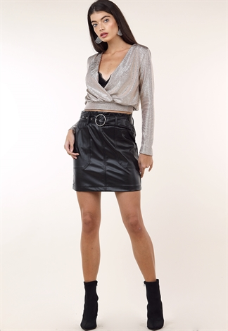 Faux Leather Belted Mini Skirt