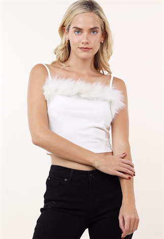 Faux Fur Trim Detail Top
