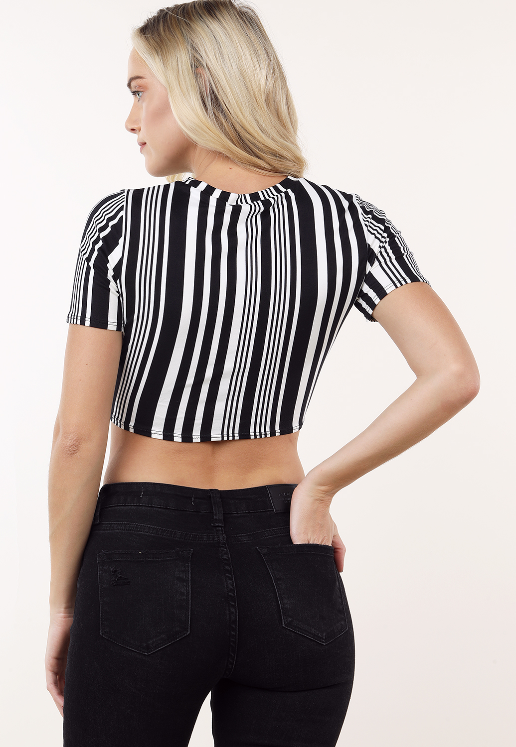 Cropped Front Tie Striped Top